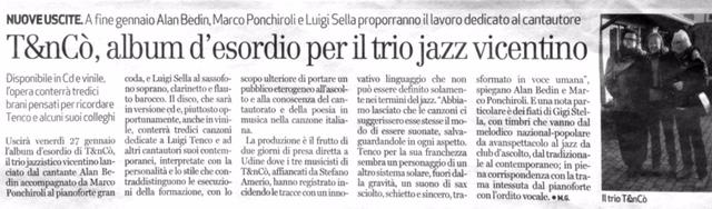 Il trio T&nCò, Giornale di Vicenza 18 gennaio 2017