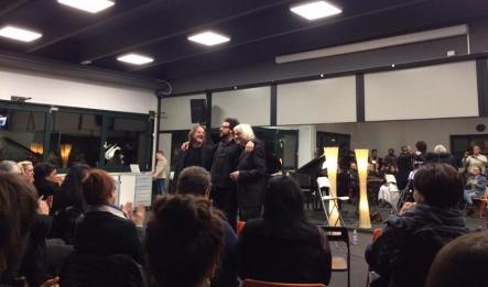 """Marco Ponchiroli, Alan Bedin, Gigi Sella al Centro Urbano di Cultura Artistica, presentazione del cd """"T&nCò"""" dedicato a Luigi Tenco"""